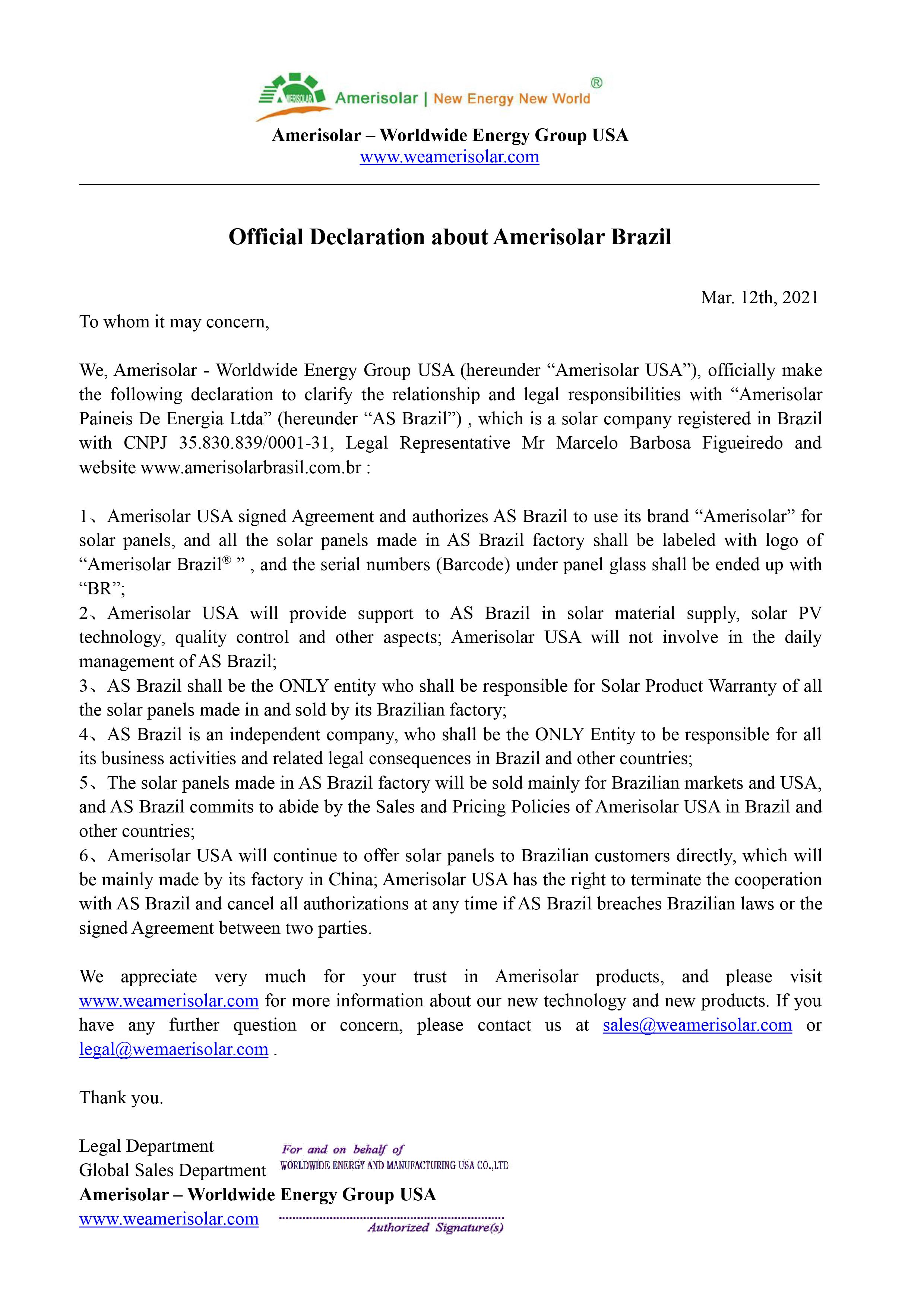 Official Declaration about Amerisolar Brazil